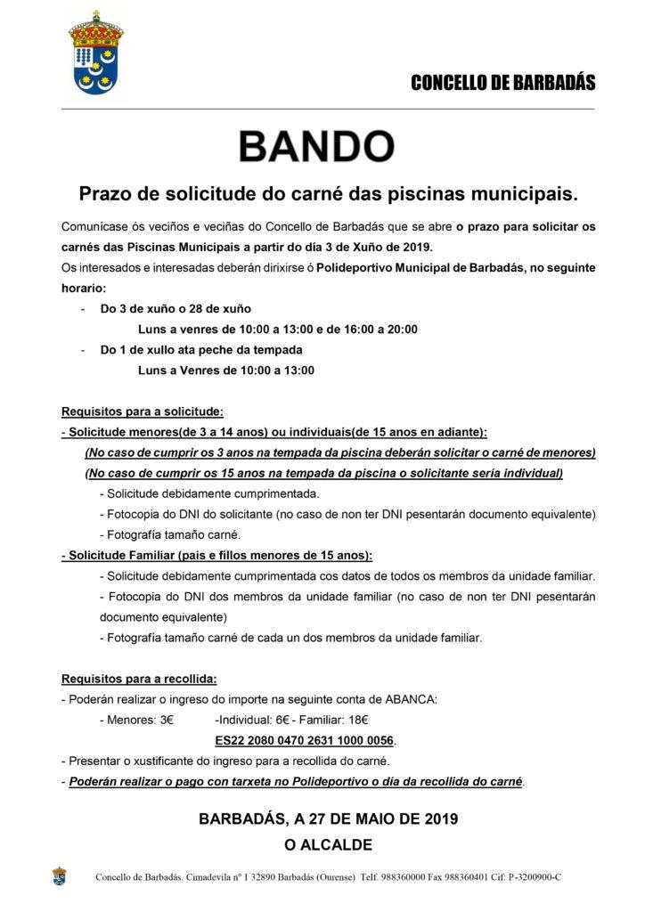 d97770686 Abierto plazo de solicitud del carnet de las piscinas Municipales