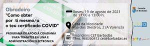 Banner Obradoiro Obtén o teu certificado Covid